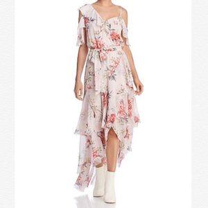 JOIE Cristeta Asymmetrical Floral Silk Maxi Dress